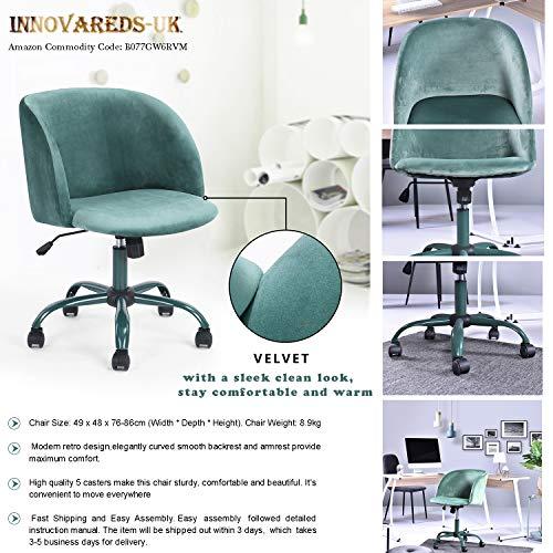 l Drehstuhl Schreibtischstuhl Samt höhenverstellbar Esszimmerstuhl/Bürostuhl mit Rückseite/Arm Support-Dark Aqua ()