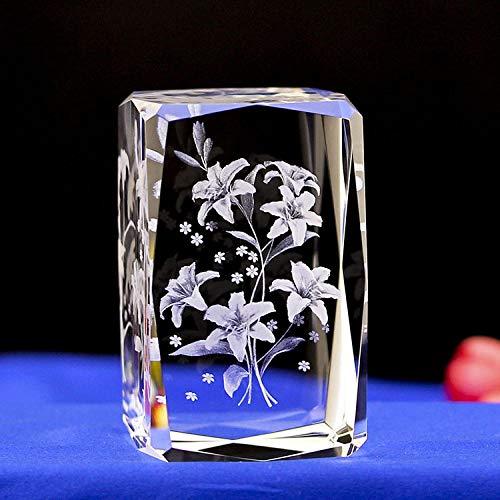 VCHGVCT 3D Parfüm Lilie Kristall Geburtstag Hochzeitsgeschenk, für kreative Geschenk Hause Ornamente (K9 Cristal)-50 * 50 * 80mm