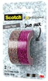 Scotch KK1510MP Kreativ-Klebeband (Glitzer, Washi Tape, Dekoband, 15 mm x 5 m) 2 Rollen bunt/pink
