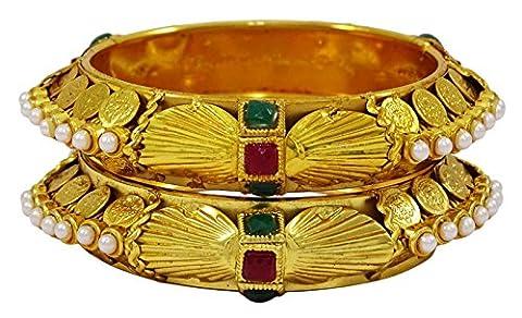 Matra Goldtone pierre acrylique Ginni Coin 2 pièces Bangle Bracelet à Kada ethnique 2 * 8 bijoux