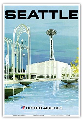 Pacifica Island Art Seattle - Aussichtsturm und Unterhaltungszentrum - United Airlines - Vintage Retro Fluggesellschaft Reise Plakat Poster von Hollenbeck c.1970s - Kunstdruck - 33cm x 48cm - Poster Airlines United