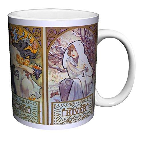 Alphonse Mucha Vier Jahreszeiten 2(Les Saisons II) Art Nouveau Keramik Geschenk Kaffee (Tee,...