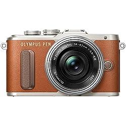 "Olympus PEN E-PL8 - Cámara EVIL de 16 MP (pantalla táctil abatible de 3"", estabilizador, vídeo FullHD, WiFi), marrón - kit con cuerpo y objetivo M.Zuiko Digital 14 ‑ 42 mm EZ Pancake"