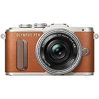 "Olympus Pen E-PL8 - Cámara Evil de 16 MP (Pantalla táctil abatible de 3"", estabilizador, vídeo FullHD, WiFi), Color marrón - Kit con Cuerpo y Objetivo M.Zuiko Digital 14 ‑ 42 mm EZ Pancake"