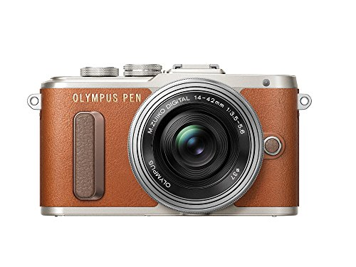 "Olympus Pen E-PL8 - Cámara Evil de 16 MP (Pantalla táctil abatible de 3"", estabilizador, vídeo FullHD, WiFi), Color marrón - Kit con Cuerpo y Objetivo M.Zuiko Digital 14 ‑ 42 mm EZ Pancake"