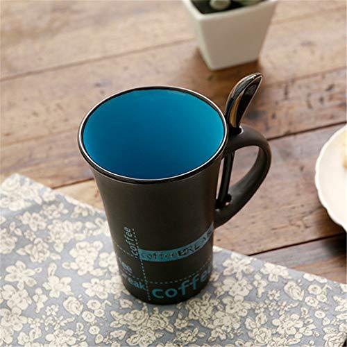 Hengrui nuova semplice tazza di caffè in ceramica con manico a cucchiaio tazza personalità creativa tazza carina blu