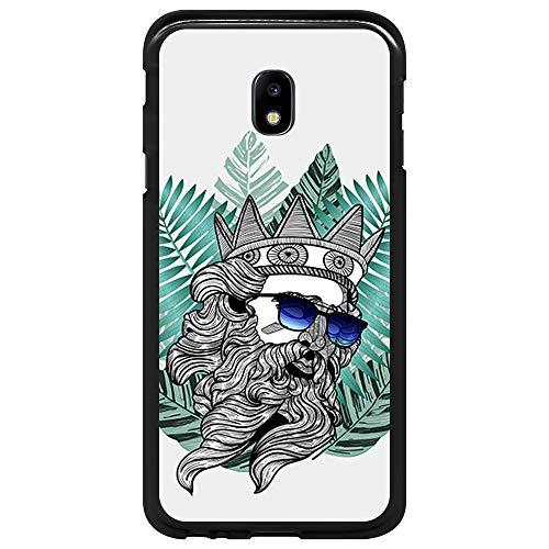 BJJ SHOP Schwarz Hülle für [ Samsung Galaxy J3 2017 ], Klar Flexible Silikonhülle, Design: Poseidon mit Brille und Hipster Bart