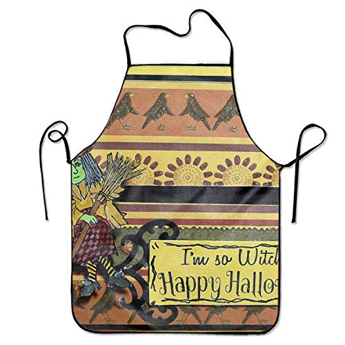 ERCGY 2019 Apron Holiday Halloween Witch Occult Happy Adjustable Apron for Kitchen BBQ Barbecue Cooking Lady's Men's (Halloween Plus Size Happy)