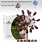 SteadyDoggie Solar Wind Spinner New 75in Jewel Cup Multi-Color LED Light Solar Powered