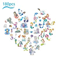 ZERHOK Mermaid Temporary Tattoo, 180pcs (Pack of 30 sheets) Mermaid Fake Tattoo Princess Mermaid Removable Stickers for Children Girl Under the Sea Themed Birthday Party Supplies Goodie Bag Filler
