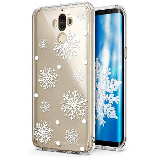 PHEZEN Huawei Mate 9Case, Huawei Mate 9, Weihnachten, Huawei Mate 9Crystal Clear TPU Fall, Ultra Slim Soft Silikon Gel Haut Handytasche Cover für Huawei Mate 9 Snowflake Gel Soft Fall