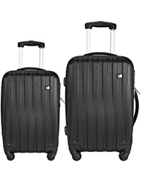 9aea45d77a4b Nasher Miles Zurich Black ABS Hard Luggage Set of 2 Luggage Set  Trolley Travel