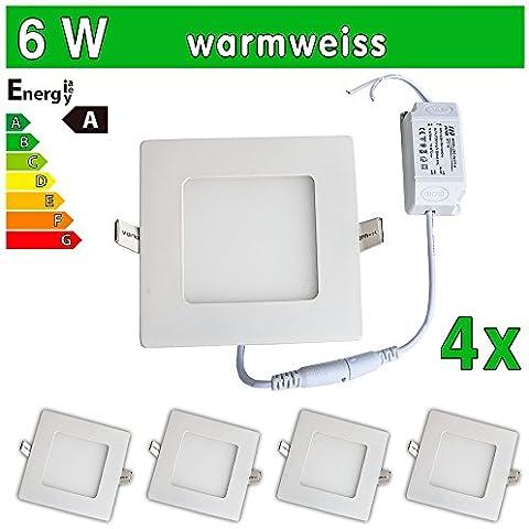 LEDVero SMD 2835 ultrafina 4 x Panel LED, 6 W, cuadrada lámpara de techo empotrables en foco, luz blanca cálida SP156