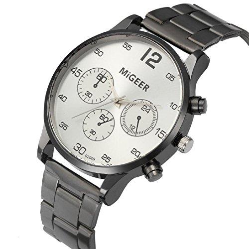 Orologio,yesmile men's analogue quartz wrist watch date day 24hrs luminous silver sport black nylon strap (b)