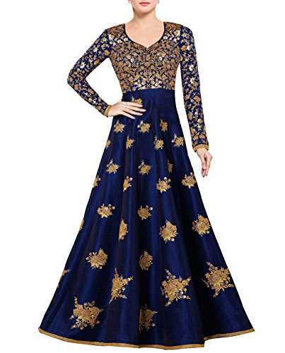 Siddeshwary Fab Women's Bangalore Silk Anarkali Gown (Free size_ semi stitched Navy...