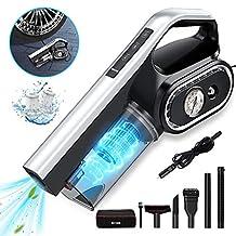 BuTure Auto Vacuum, 4 in 1 Multifunctionele 8000 Pa Krachtige Handheld Stofzuiger Luchtcompressor Bandenpomp Nat/Droog Draagbare Stofzuigers met LED Licht en 14,7 Ft snoer voor Autobanden en Reiniging