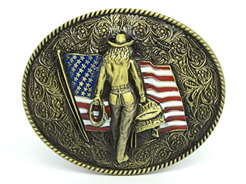 CUSHY Amerikanische Flagge Cowboy-Western-Gürtelschnalle -