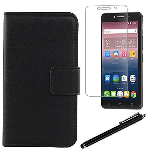 Gukas Design Schwarz Echt Leder Tasche Für Alcatel One Touch Pixi 4 8050D 6