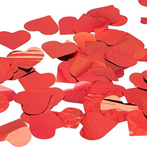Konfettikanone mit rote Herzen, 10 Stück