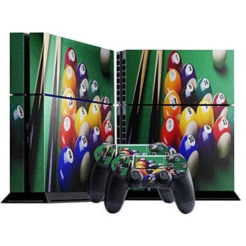 Snooker, Designfolie Sticker Skin Aufkleber Schutzfolie mit Farbenfrohem Design für Playstation 4 CUH 1000 1100