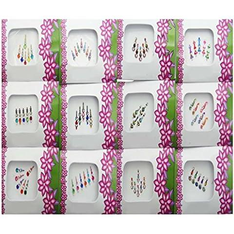Banithani 12 piezas Surtido de diferente multicolor Bindi Los paquetes completos tatuajes pegatina