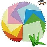 Whonline 400pcs Papeles de origami de doble cara de 15x15cm, 10 colores vívidos