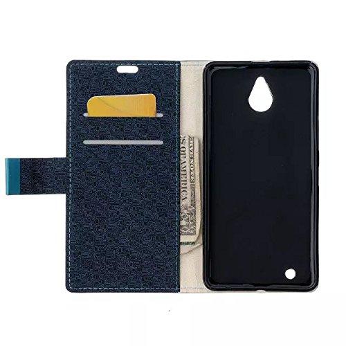 Nokia Lumia 650 Case, Labyrinth Pattern Beschaffenheit PU-lederner Fall Normallack-Kasten Magnetischer Closer mit Halter Karten-Schlitze + weiches Silikon-rückseitige Abdeckung für Microsoft Nokia Lum Dark Blue