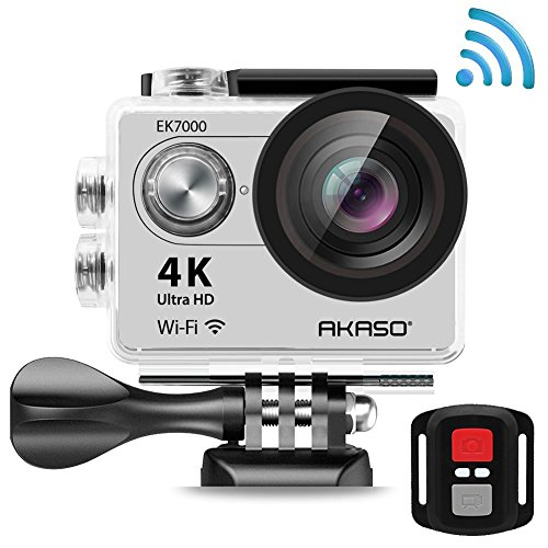 AKASO EK7000 4K Action Camera WIFI Ultra HD Waterproof Sports DV Camcorder 12MP, 2.4G Remote 2 Rechargeable Batteries, 170 Degree Wide Angle 2 inch LCD Screen- Silver (Manufacturer Refurbished )