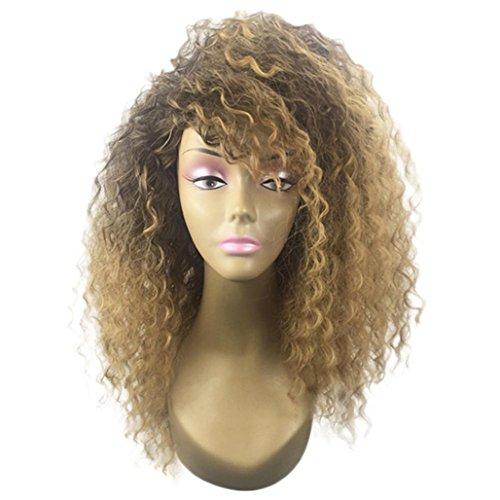 Promotionnel!! Perruque Femme,Perruque pour Femme Longue Bouclée,PowerFul-LOT Perruque Synthétique Perruque Blonde Perruque Afro-Américaine Perruque Synthétique Pour Les Femmes De La Mod