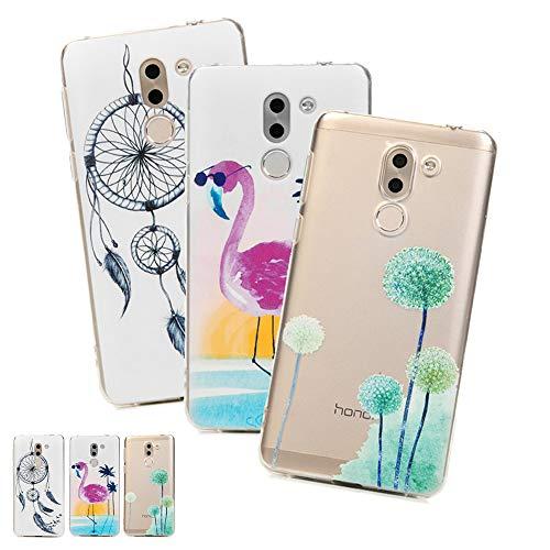 3 X Coques Huawei Honor 6X, LaVibe Étui Gel Silicone TPU Transparant Protecteur Housse Anti-Rayures Pare-Chocs Bumper Souple Ultra Slim Flexible Soft Case Cover - Verres Flamingo