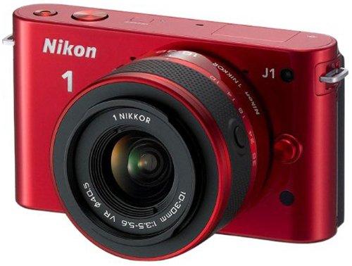 Nikon 1 J1 Systemkamera (10 Megapixel, 7,5 cm (3 Zoll) Display) rot inkl 1 NIKKOR VR 10-30 mm Objektiv