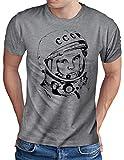 OM3® - Juri Gagarin - T-Shirt - Herren - Kosmonaut UDSSR 1962 Space Sojus Mond Mission - Grau Meliert, XL