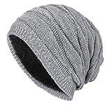 Hut Mode Trend Gestrickte Wollmütze Winter Plus SAMT warmen Gestrickte Wollmützen für Männer und Frauen (Grau)