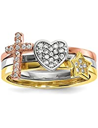 Sterling Silver Rhodium-plate Gold and Rose-tone Star Cross Cubic Zirconia 3 Ring Set - Ring Size Options Range: L to P