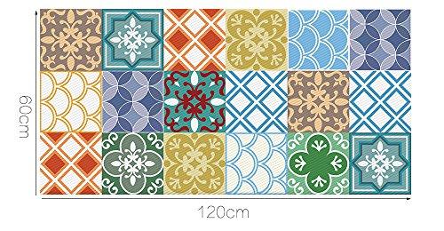 Alwayspon Azulejos de Vinilo Suelo Sticker, Impermeable Antideslizante Azulejos de la Etiqueta...