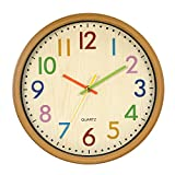LENRUS Kinderwanduhr, 12.5 Zoll/32 cm Kinder Wanduhr mit lautlosem Uhrenwerk und...