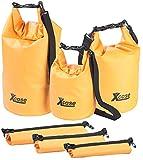 Xcase Transportbeutel: 3er-Set Wasserdichte Packsäcke aus LKW-Plane, 5/10/20 Liter, Orange (Seesack)