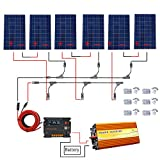 ECO-WORTHY 720W Off Grid Solar Panel Kit: 3000W 220V reiner Sinus Wechselrichter + 6 PCS 120W polykristalliner Solarpanel + 20A Ladegerät Controller für den Haushalt