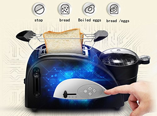 ZXMXY Toaster Automatic Breakfast Machine Egg Maker Baking Stainless Steel 2 Slice Toaster and Egg 1200 W – Black