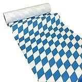 JUNOPAX Chemin de Table en Papier Bleu/Blanc, Blanc/Bleu, 50 m x 0,40 m