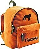 ShirtInStyle Kinder Rucksack Fuchs, mit Name veredelt, ideal für Kita, Farbe orange