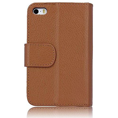 Vandot iPhone 44S Schutzhülle aus Leder Flip Case Cover für iPhone 44S Decke Shell Elegante tragbar Ultradünn kratzfest Staubschutz Nachhaltige hull- schwarz Wallet Braun