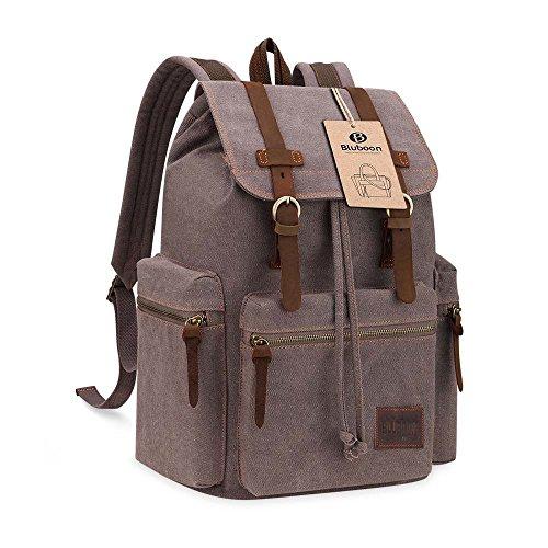 Imagen de bluboon vintage  de lona para hombre/mujer casual backpack canvas rucksack ejercito verde  alternativa