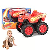 Beito 1pcs Flame and Machine Monster Sliding Large Wheel Toy Car (Rojo)
