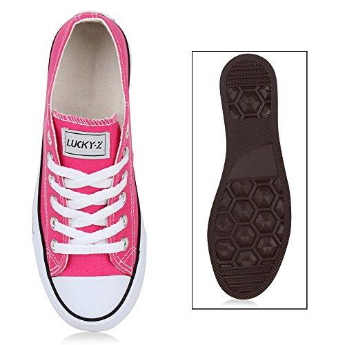 Freizeit Damen Sneakers Low Viele Farben & Größen Canvas Schuhe Neonpink