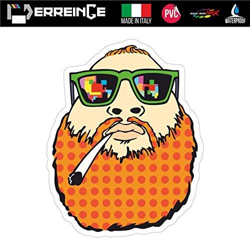 erreinge Sticker Hipster Barba Marijuana Erba Adesivo Sagomato in PVC per Decalcomania Parete Murale Auto Moto Casco Camper Laptop - cm 10