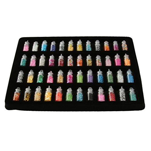 48 Flaschen Nagelaufkleber Maniküre DIY Kunst Schicke Glitzer Pailletten Spitzen Dekor