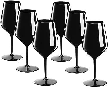 DoimoFlair Calice da Vino in plastica Spumante Riutilizzabile aperitivo infrangibile Nero 46 cl. Set 6 Pezzi.