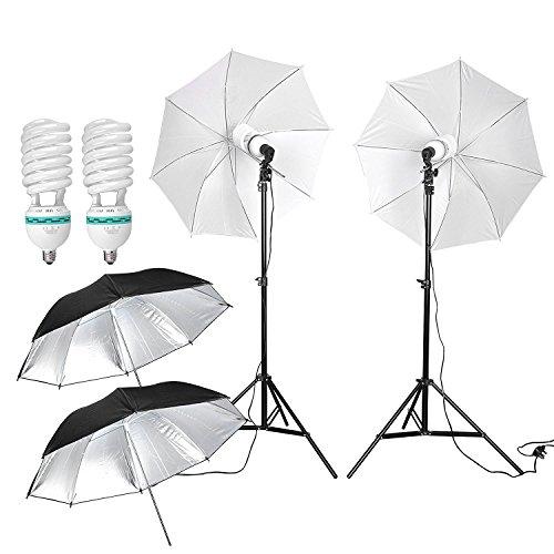 1250W Ombrello illuminazione continua Kit per studio fotografico con 2 x 5500K Lampadine a risparmio energetico/2 x treppiedi lampada e spina/2 x traslucido ombrellone e 2 ombrellone riflettore UE