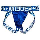 Männer Sexy Aushöhlen Unterwäsche Low Rise Jock Strap Supporter Blau EUR S/Größe M